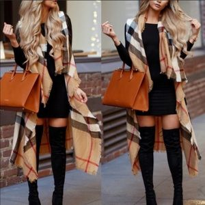 Sweaters - Camel Plaid Vest